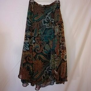 Teal and rust floral Paisley midi skirt